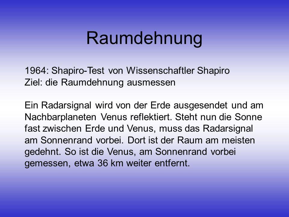 Raumdehnung 1964: Shapiro-Test von Wissenschaftler Shapiro