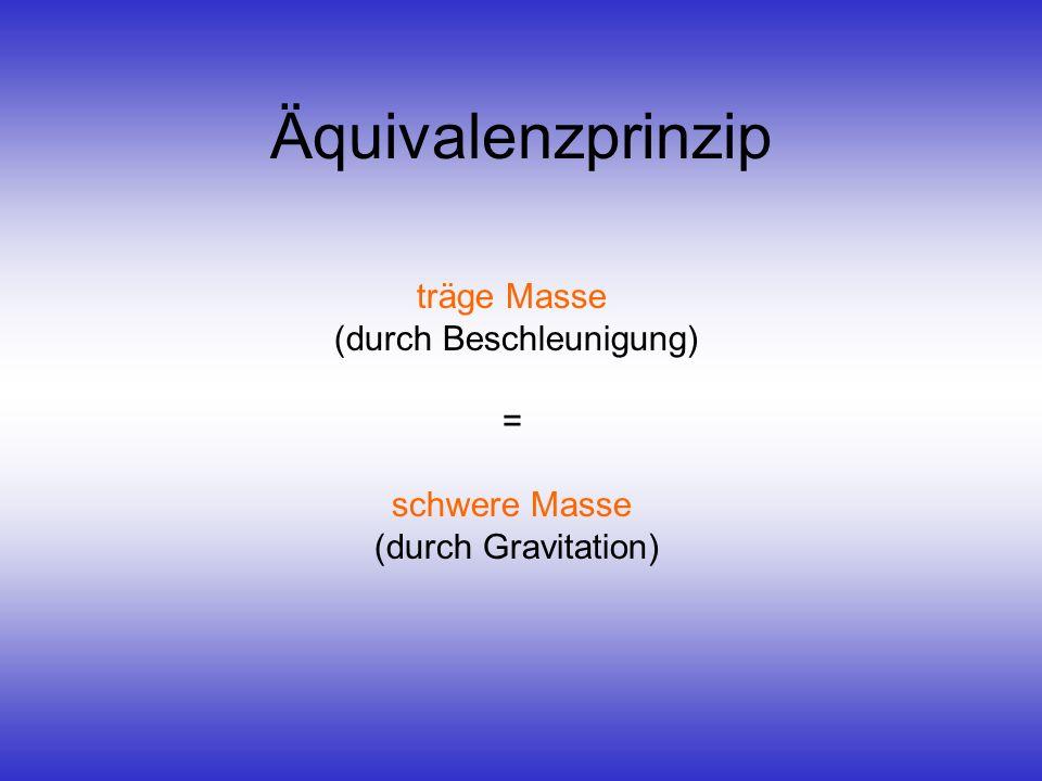 Äquivalenzprinzip träge Masse (durch Beschleunigung) =