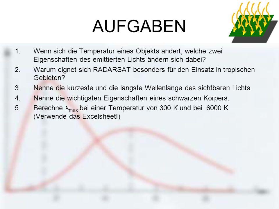 AUFGABEN Wenn sich die Temperatur eines Objekts ändert, welche zwei Eigenschaften des emittierten Lichts ändern sich dabei