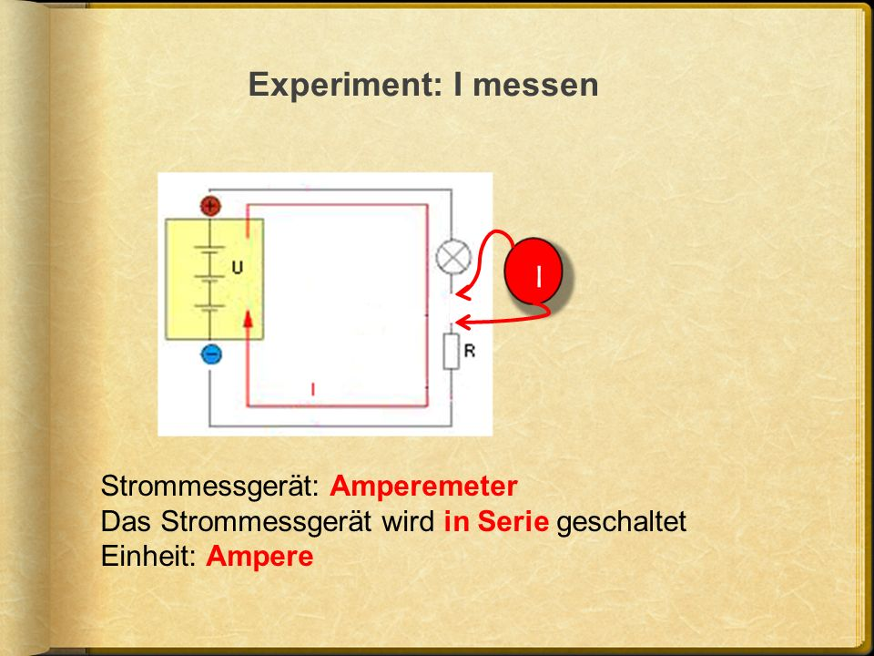 Experiment: I messen I Strommessgerät: Amperemeter