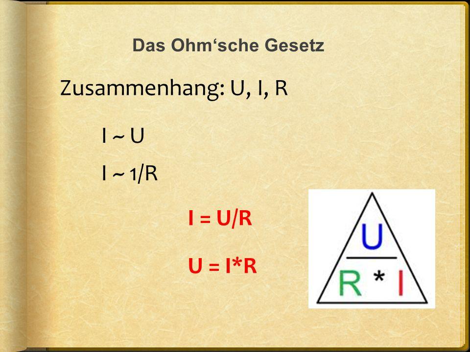 Zusammenhang: U, I, R I ~ U I ~ 1/R I = U/R U = I*R