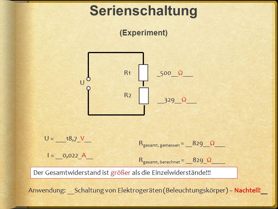 Serienschaltung (Experiment)