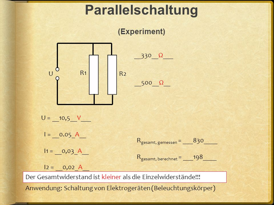 Parallelschaltung (Experiment)