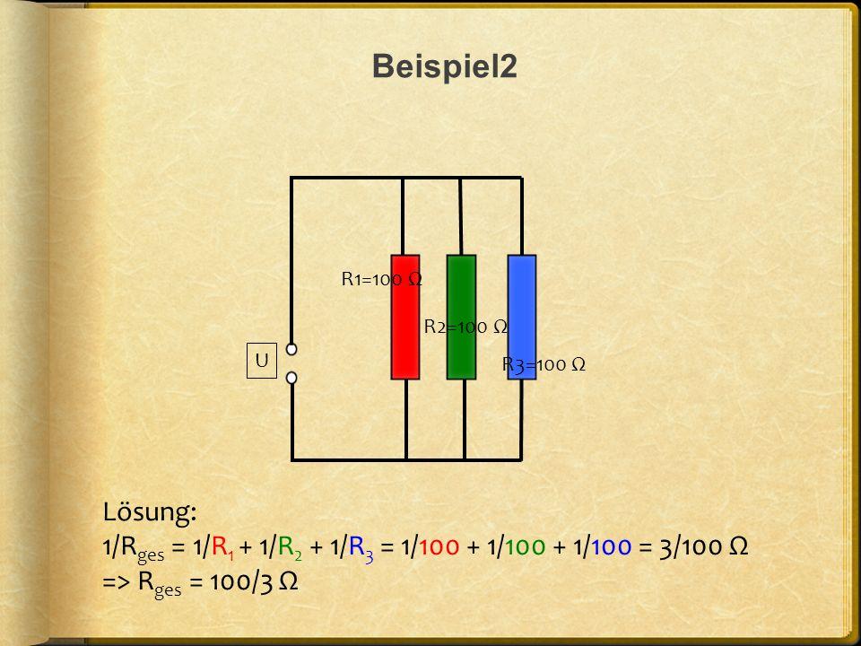 Beispiel2 U. R1=100 Ω. R2=100 Ω. R3=100 Ω. Lösung: 1/Rges = 1/R1 + 1/R2 + 1/R3 = 1/100 + 1/100 + 1/100 = 3/100 Ω.
