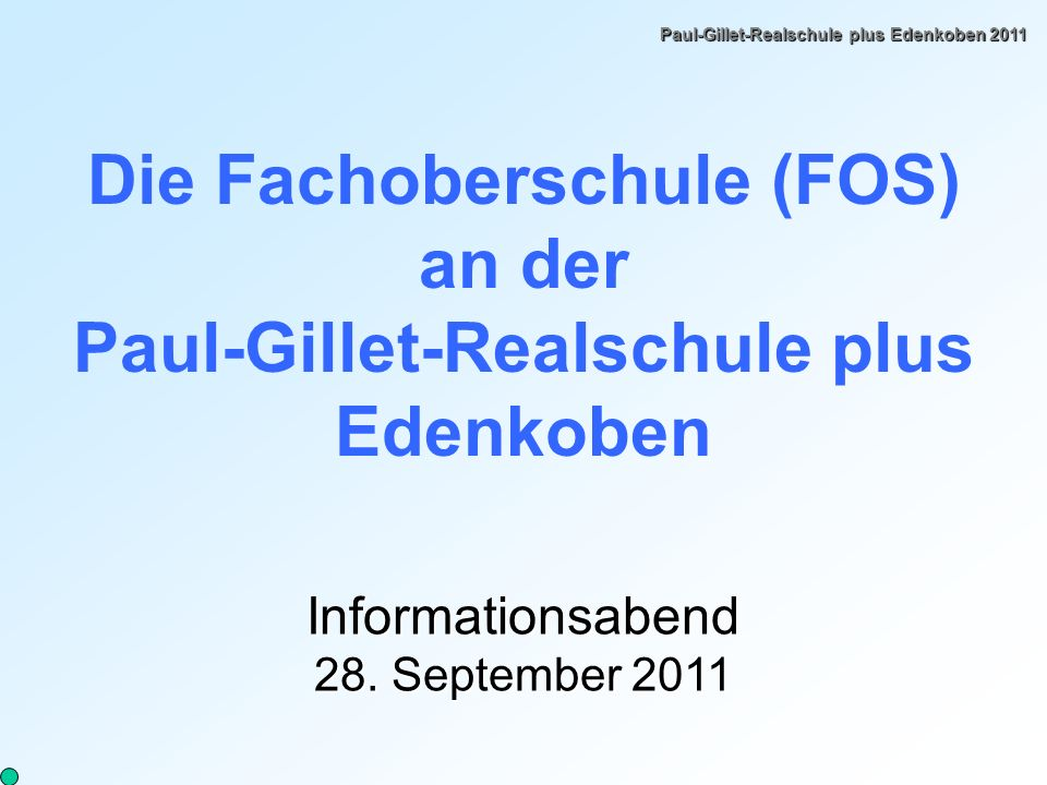 Die Fachoberschule (FOS) an der Paul-Gillet-Realschule plus Edenkoben