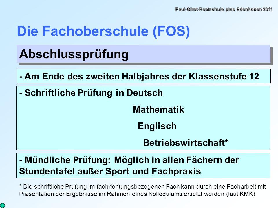 Die Fachoberschule (FOS)