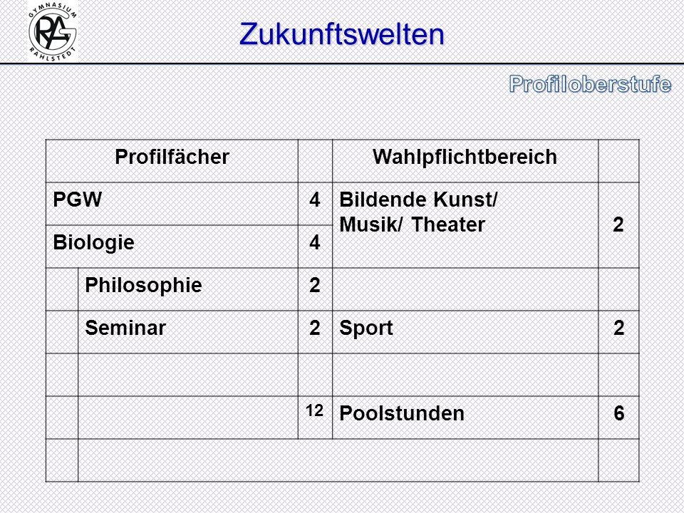 Zukunftswelten Profilfächer Wahlpflichtbereich PGW 4