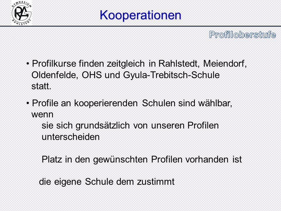 Kooperationen Profilkurse finden zeitgleich in Rahlstedt, Meiendorf, Oldenfelde, OHS und Gyula-Trebitsch-Schule statt.
