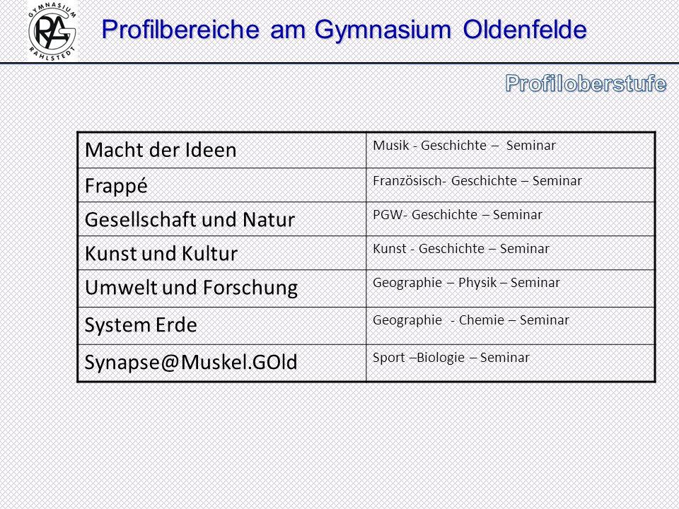 Profilbereiche am Gymnasium Oldenfelde