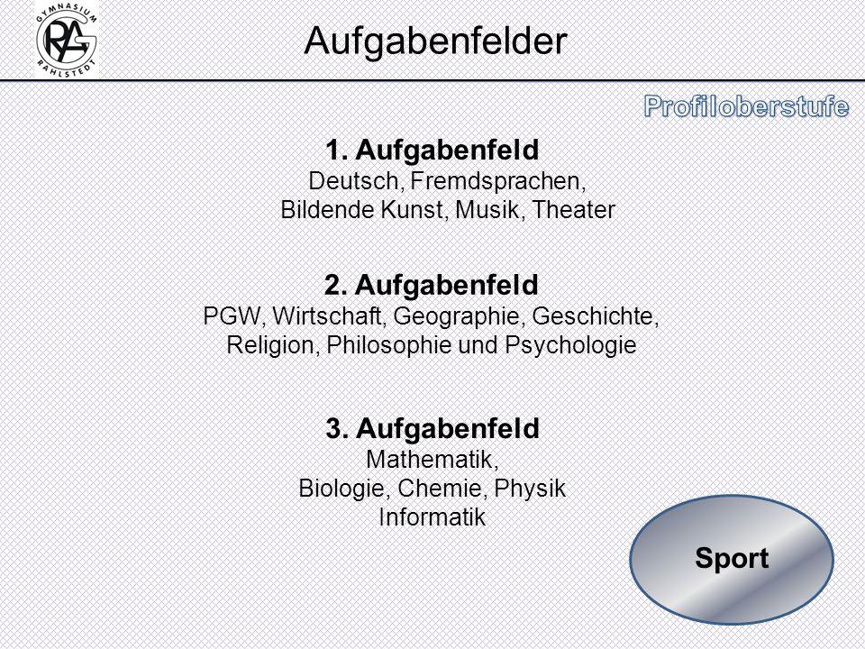 Aufgabenfelder 1. Aufgabenfeld Deutsch, Fremdsprachen, Bildende Kunst, Musik, Theater.