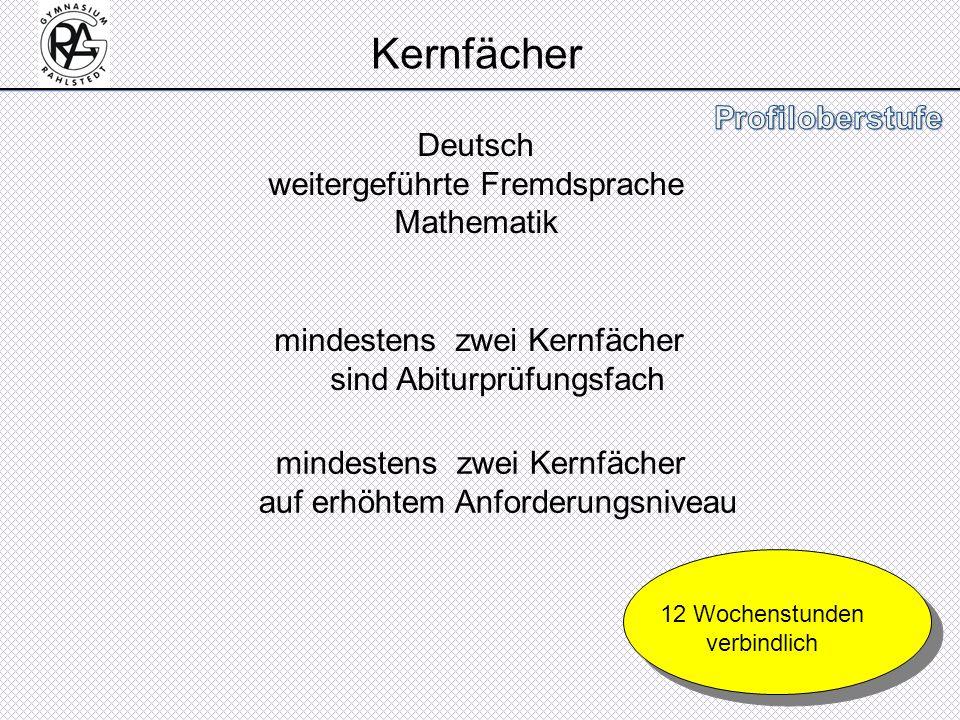 Kernfächer Deutsch weitergeführte Fremdsprache Mathematik