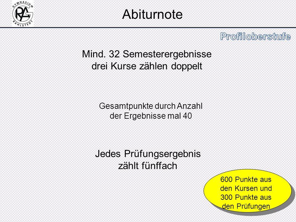 Abiturnote Mind. 32 Semesterergebnisse drei Kurse zählen doppelt