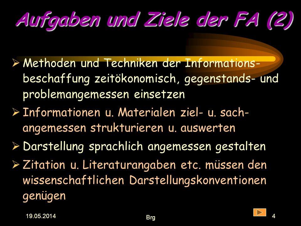 Aufgaben und Ziele der FA (2)