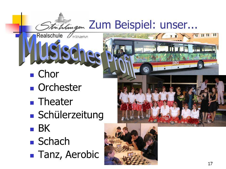 Zum Beispiel: unser... Musisches Profil Chor Orchester Theater