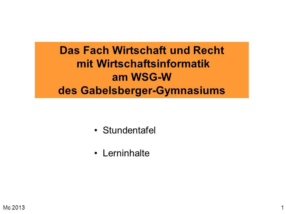 Das Fach Wirtschaft und Recht mit Wirtschaftsinformatik am WSG-W des Gabelsberger-Gymnasiums