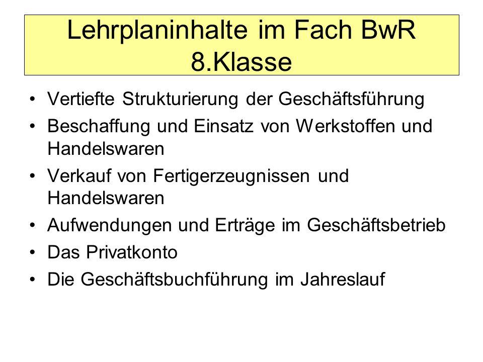 Lehrplaninhalte im Fach BwR 8.Klasse