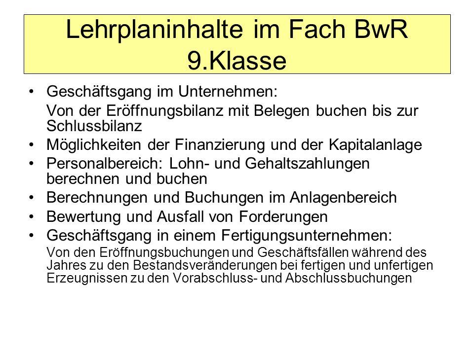 Lehrplaninhalte im Fach BwR 9.Klasse
