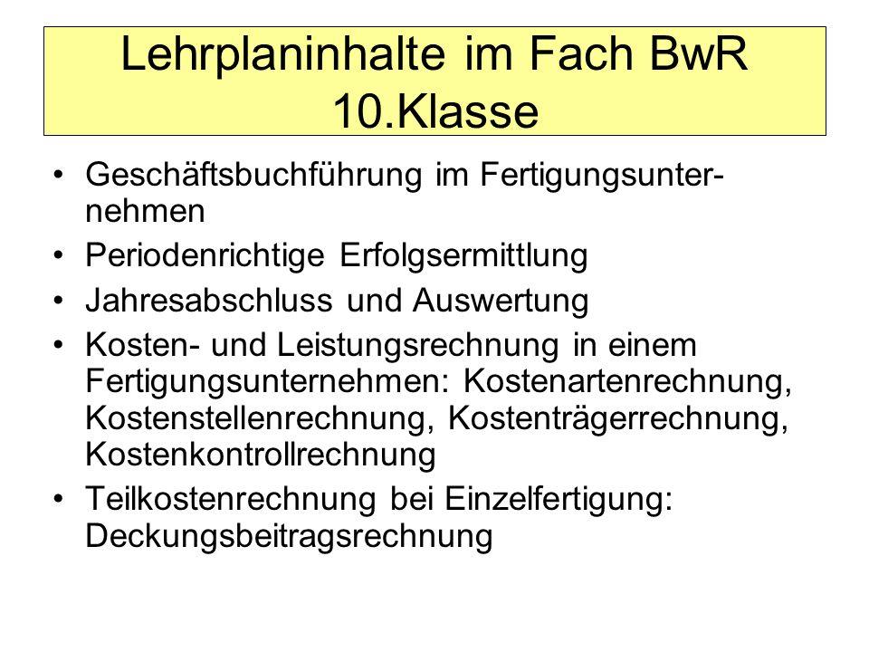 Lehrplaninhalte im Fach BwR 10.Klasse