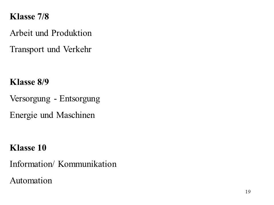 Klasse 7/8 Arbeit und Produktion. Transport und Verkehr. Klasse 8/9. Versorgung - Entsorgung. Energie und Maschinen.