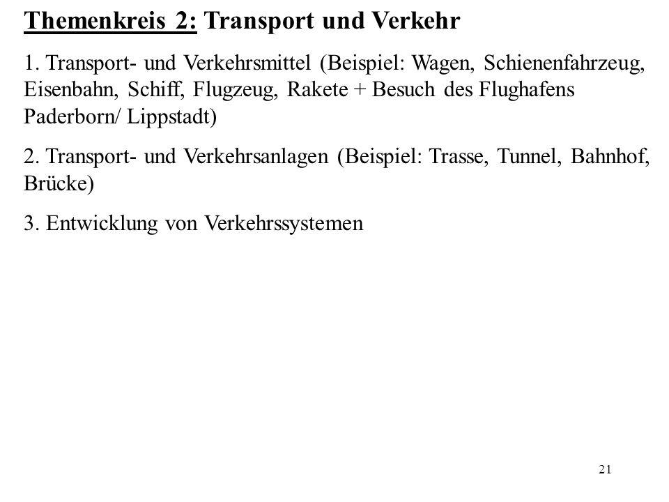 Themenkreis 2: Transport und Verkehr