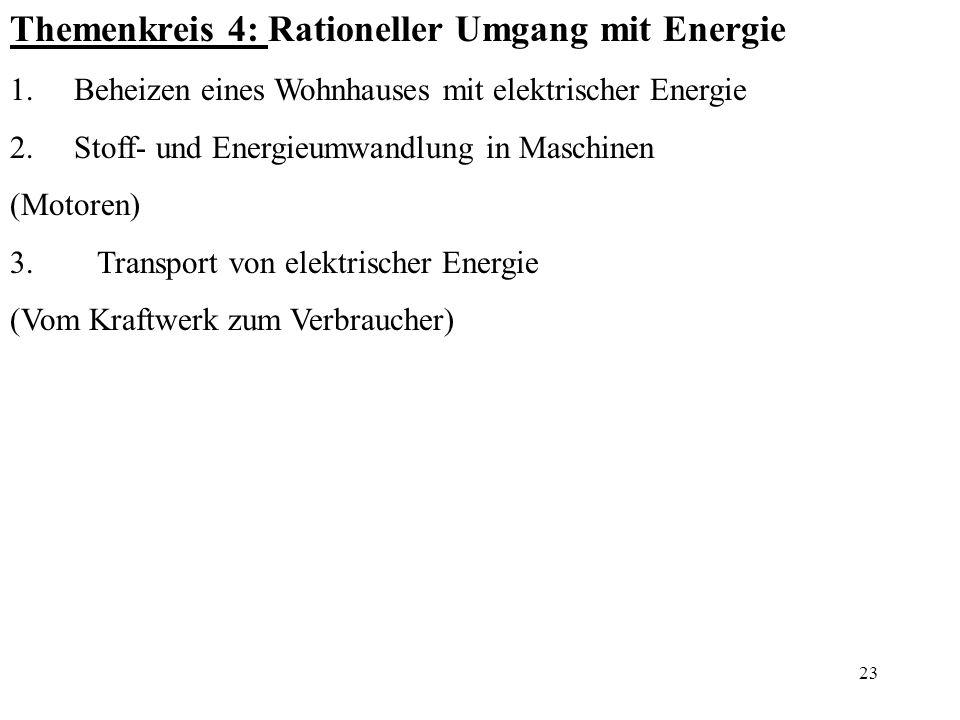 Themenkreis 4: Rationeller Umgang mit Energie