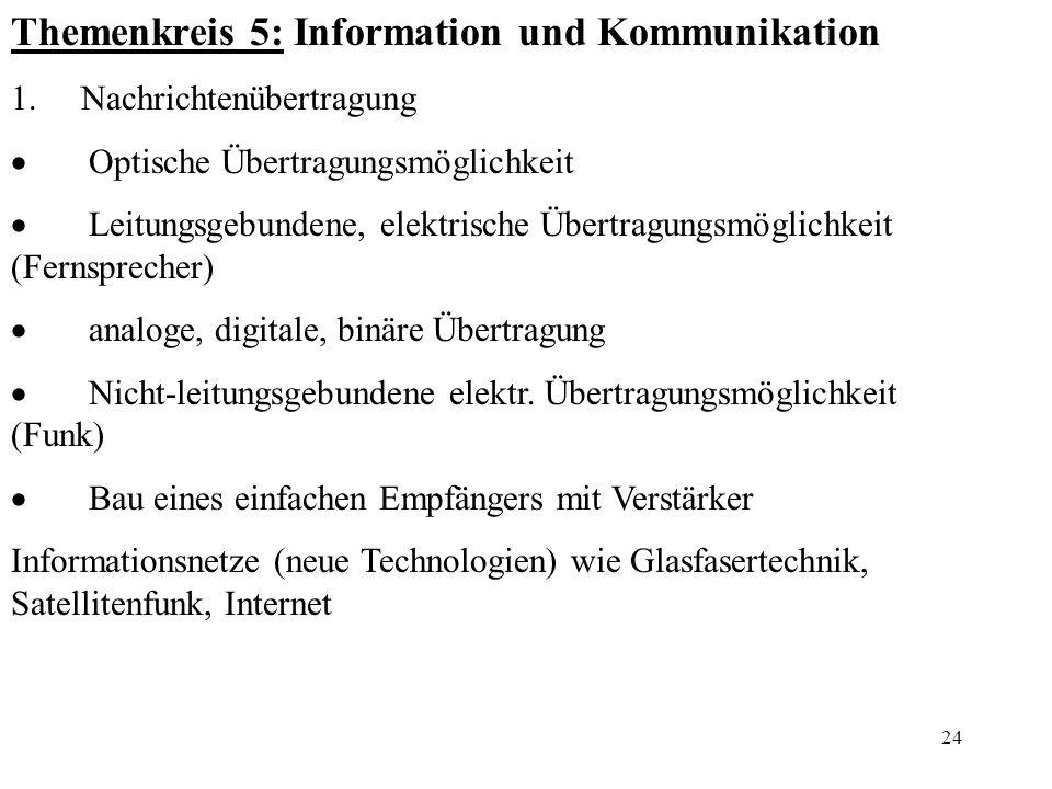 Themenkreis 5: Information und Kommunikation