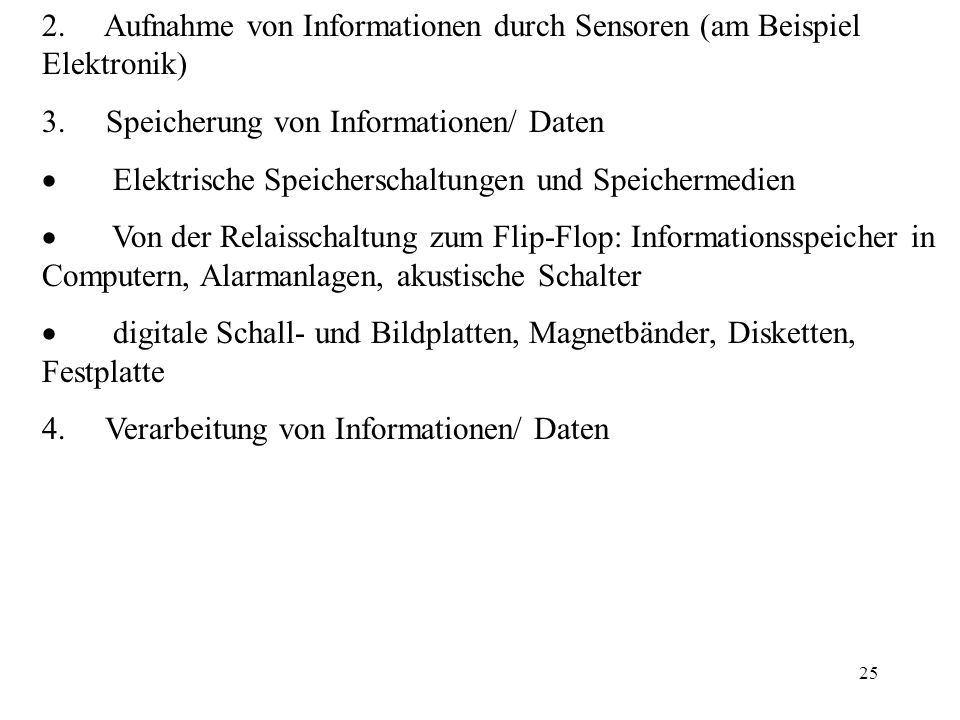 2. Aufnahme von Informationen durch Sensoren (am Beispiel Elektronik)