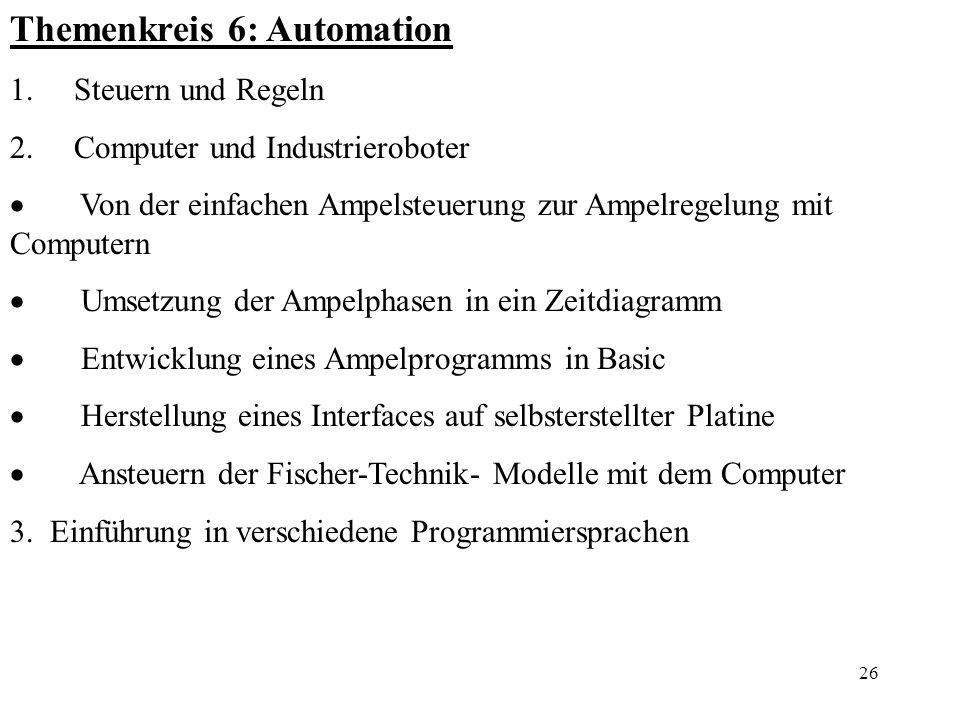 Themenkreis 6: Automation