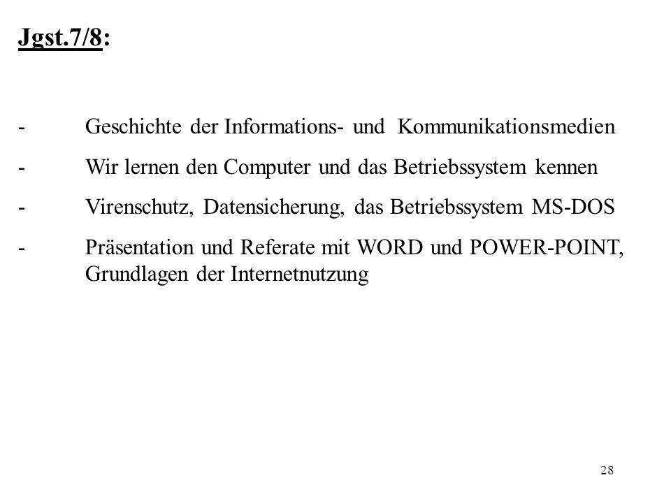 Jgst.7/8: - Geschichte der Informations- und Kommunikationsmedien