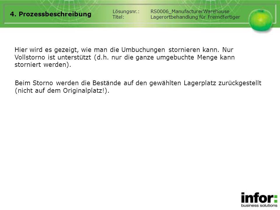 4. Prozessbeschreibung Lösungsnr.: RS0006_ManufacturerWarehouse. Titel: Lagerortbehandlung für Fremdfertiger.