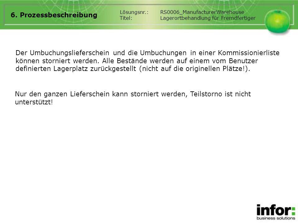 6. Prozessbeschreibung Lösungsnr.: RS0006_ManufacturerWarehouse. Titel: Lagerortbehandlung für Fremdfertiger.