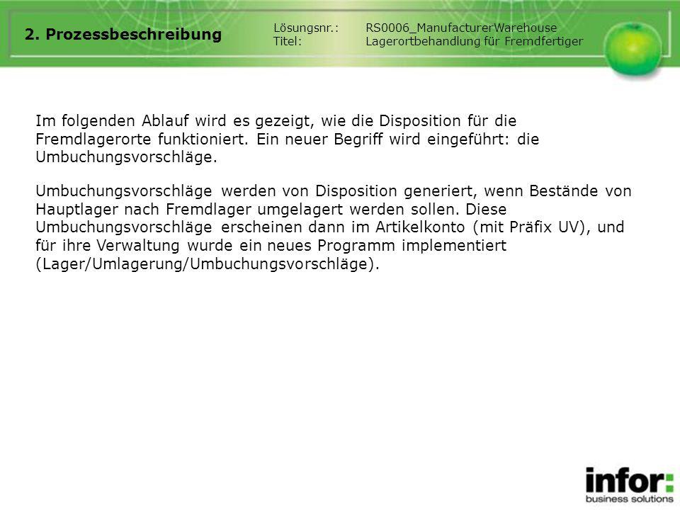 2. Prozessbeschreibung Lösungsnr.: RS0006_ManufacturerWarehouse. Titel: Lagerortbehandlung für Fremdfertiger.