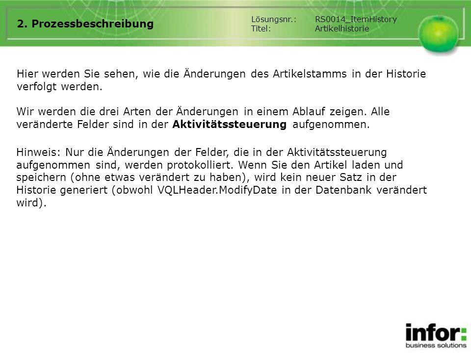 2. Prozessbeschreibung Lösungsnr.: RS0014_ItemHistory. Titel: Artikelhistorie.