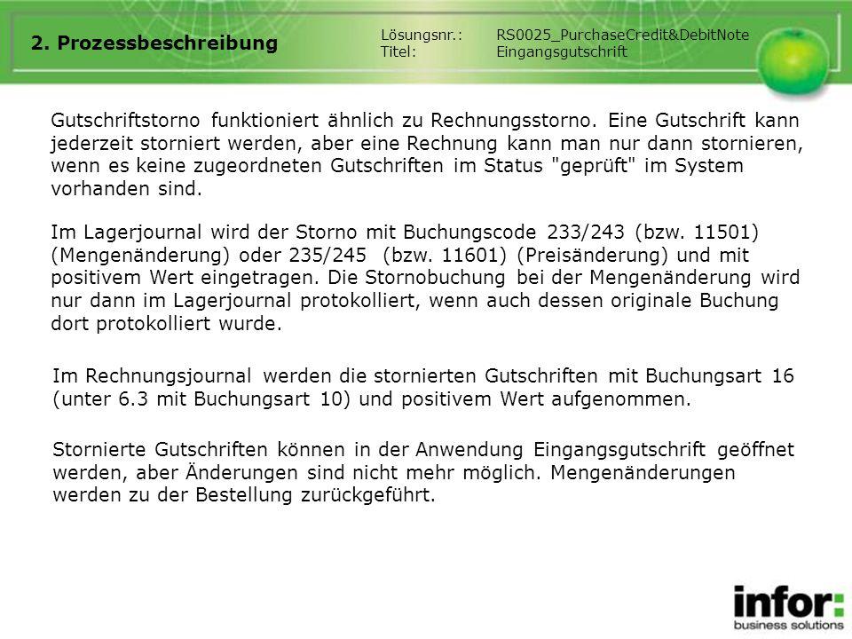 2. Prozessbeschreibung Lösungsnr.: RS0025_PurchaseCredit&DebitNote. Titel: Eingangsgutschrift.