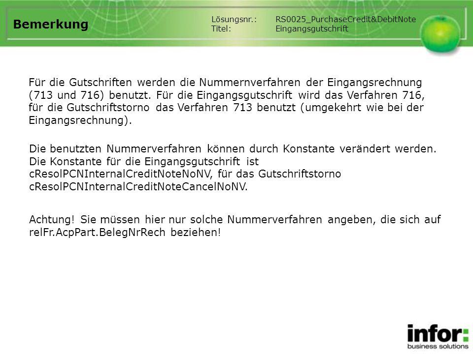 Bemerkung Lösungsnr.: RS0025_PurchaseCredit&DebitNote. Titel: Eingangsgutschrift.