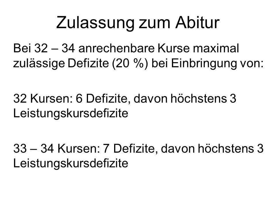 Zulassung zum Abitur Bei 32 – 34 anrechenbare Kurse maximal zulässige Defizite (20 %) bei Einbringung von: