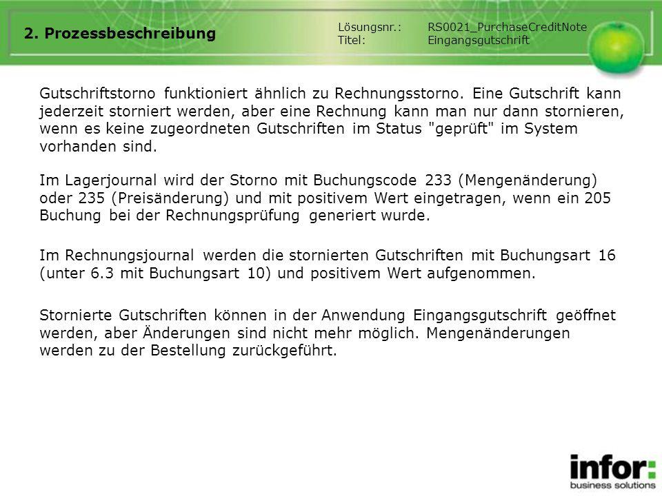 2. Prozessbeschreibung Lösungsnr.: RS0021_PurchaseCreditNote. Titel: Eingangsgutschrift.