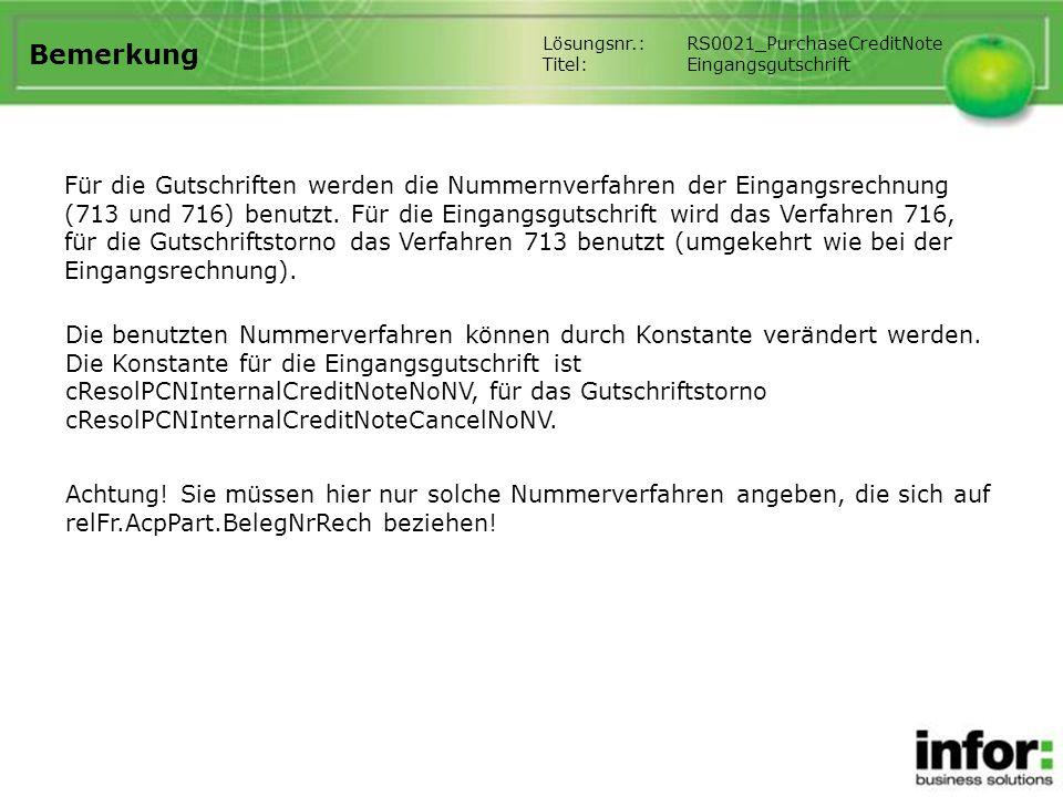 Bemerkung Lösungsnr.: RS0021_PurchaseCreditNote. Titel: Eingangsgutschrift.