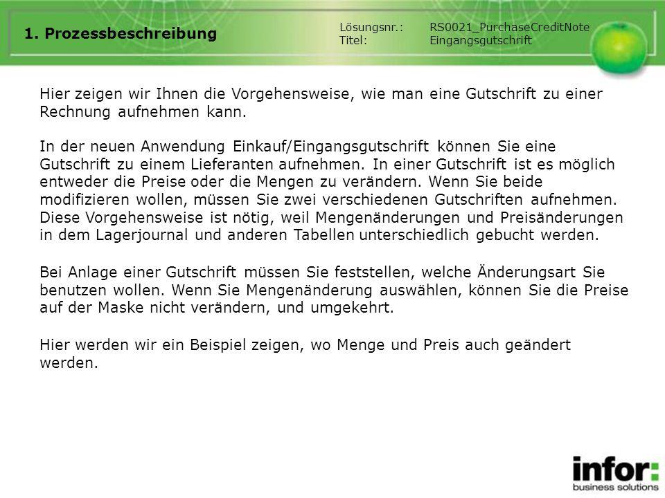 1. Prozessbeschreibung Lösungsnr.: RS0021_PurchaseCreditNote. Titel: Eingangsgutschrift.