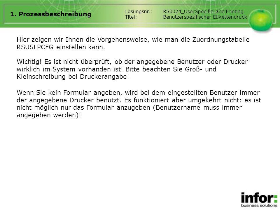 1. Prozessbeschreibung Lösungsnr.: RS0024_UserSpecificLabelPrinting. Titel: Benutzerspezifischer Etikettendruck.