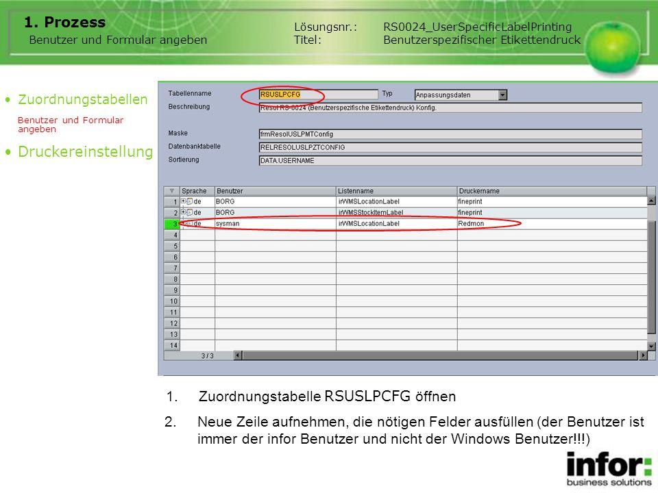 Benutzer und Formular angeben