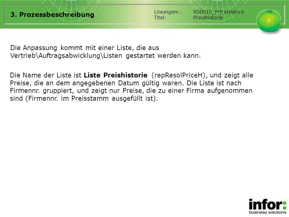 3. Prozessbeschreibung Lösungsnr.: RS0016_PriceHistory. Titel: Preishistorie.