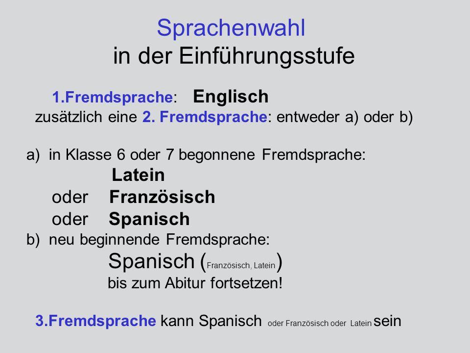 Sprachenwahl in der Einführungsstufe