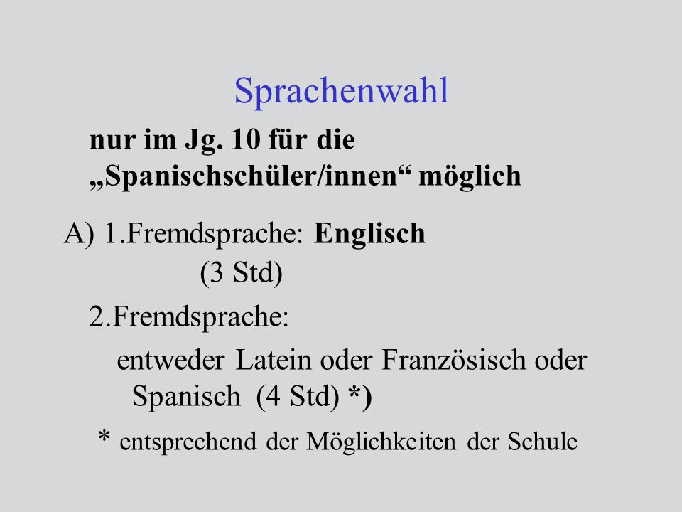 """Sprachenwahl nur im Jg. 10 für die """"Spanischschüler/innen möglich"""