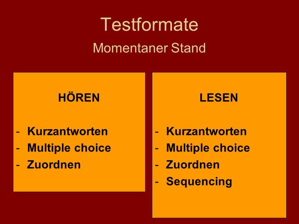 Testformate Momentaner Stand