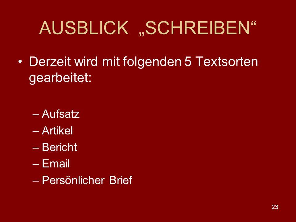 """AUSBLICK """"SCHREIBEN Derzeit wird mit folgenden 5 Textsorten gearbeitet: Aufsatz. Artikel. Bericht."""