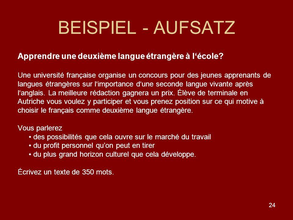 BEISPIEL - AUFSATZ Apprendre une deuxième langue étrangère à l'école