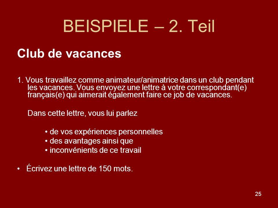 BEISPIELE – 2. Teil Club de vacances