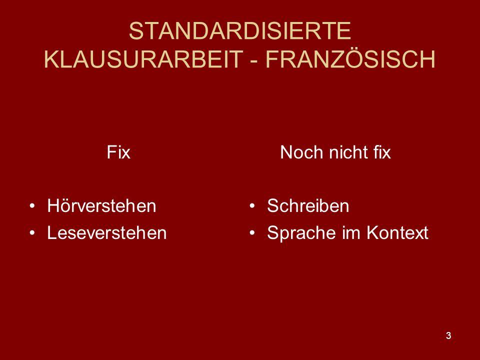 STANDARDISIERTE KLAUSURARBEIT - FRANZÖSISCH