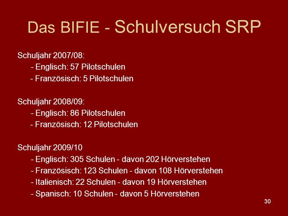 Das BIFIE - Schulversuch SRP
